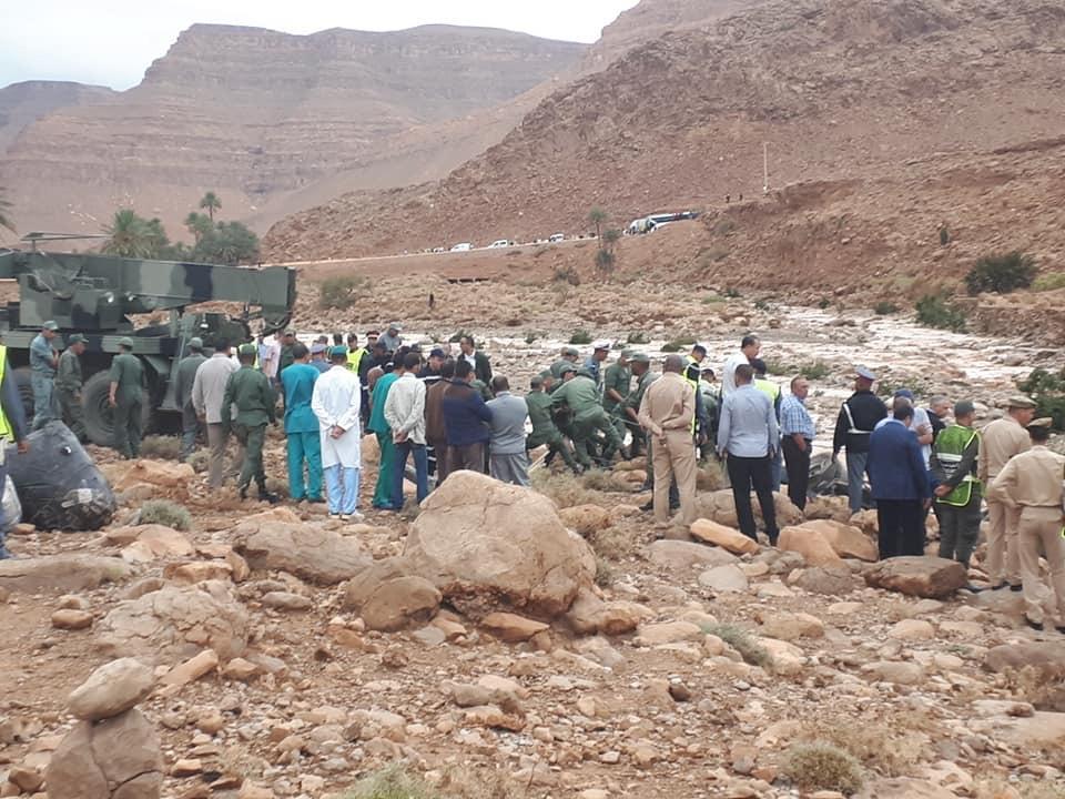 مصرع 6 أشخاص في حادث انقلاب حافلة جراء فيضان بالرشيدية